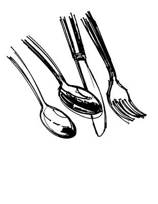 Food And Beverage Drawing - Diner Drawing Spoons, Knife, And Fork by Chad Glass