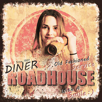 Photograph - Diner Roadhouse Retro Tin Sign by Jorgo Photography - Wall Art Gallery