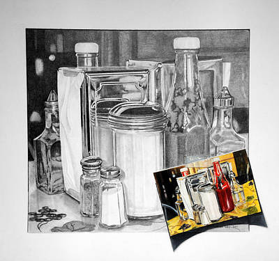 Reflecting Drawing - Diner Study by Duncan  Way