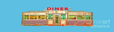 Landmarks Painting Royalty Free Images - Diner Tee Royalty-Free Image by Edward Fielding