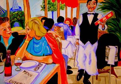 Diners At La Lutetia Print by Rusty Woodward Gladdish