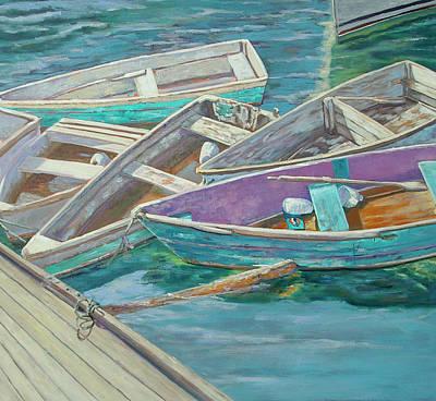 Dinghies All Tied Up Art Print by Barbara Hageman
