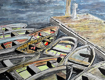 Drawing - Dinghies At The Dock by Michele A Loftus