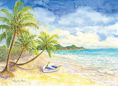 Frond Painting - Dinghy On The Tropical Beach With Palm Trees by Audrey Jeanne Roberts