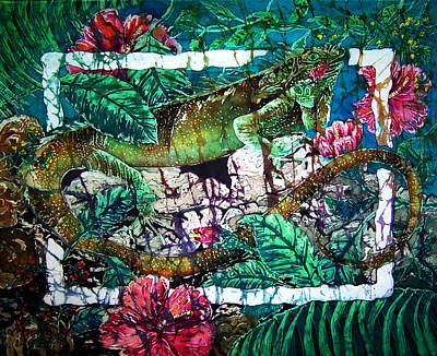 Dining At The Hibiscus Cafe - Iguana Art Print by Sue Duda