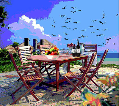 Mixed Media - Dining By The Sea by Charles Shoup