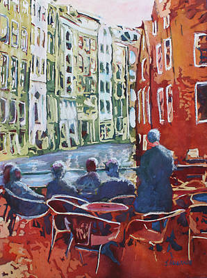 Painting - Dining Canalside by Jenny Armitage