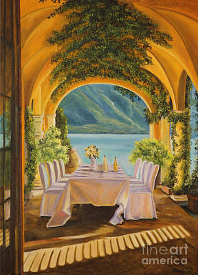 Lake Como Painting - Dining On Lake Como by Charlotte Blanchard