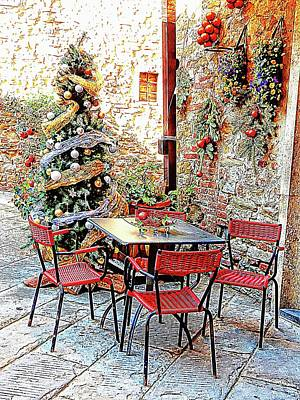 Photograph - Dining Outside At Christmas Panicale by Dorothy Berry-Lound