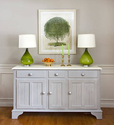 Photograph - Dining Room Credenza With Green Lamps by Betty Denise