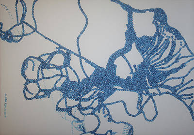 Painting - Dinka In Blue 1 - South Sudan by Gloria Ssali