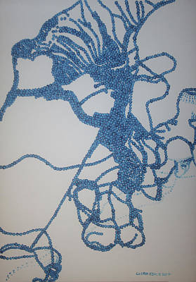 Painting - Dinka In Blue2 - South Sudan by Gloria Ssali