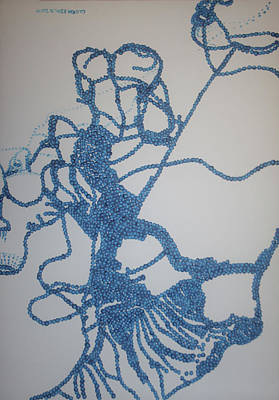 Painting - Dinka In Blue3 - South Sudan by Gloria Ssali