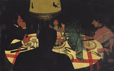 Oil Lamp Painting - Dinner By Lamplight by Felix Edouard Vallotton