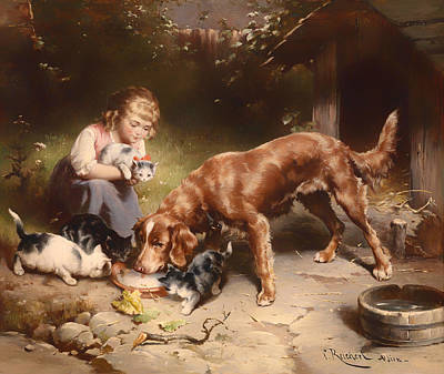 Cats And Dogs Painting - Dinner Party by Mountain Dreams