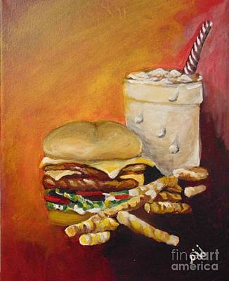 Art Print featuring the painting Dinner Time by Saundra Johnson