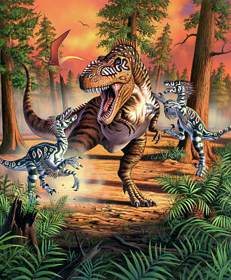 Extinct And Mythical Digital Art - Dino Battle by Jerry LoFaro