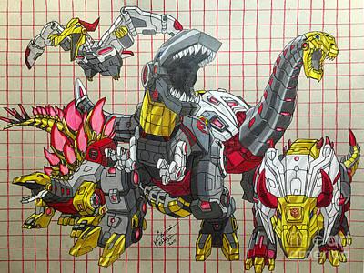 Eighties Drawing - Dinobots - Gen 1 by Chris Volpe