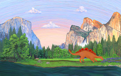 Grand Canyon Drawing - Dinosaur Arriving At Yosemite by Laura Calhoun