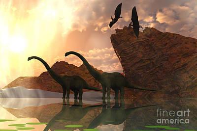 Flying Dinosaur Painting - Dinosaur Dawn by Corey Ford