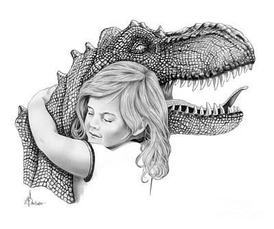 Drawing - Dinosaur Hug by Murphy Elliott