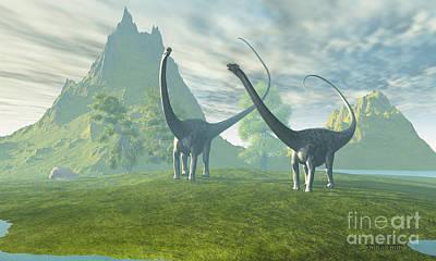 Dinosaur Land Art Print by Corey Ford