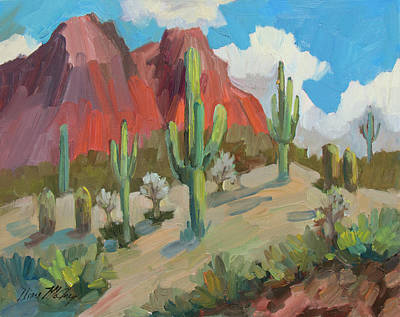 Art Print featuring the painting Dinosaur Mountain by Diane McClary
