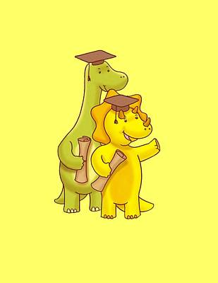 Diploma Digital Art - Dinosaur School Graduation Day by Paws Pals