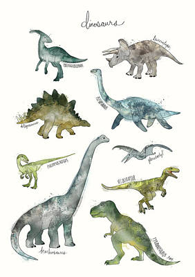 Nursery Mixed Media - Dinosaurs by Amy Hamilton