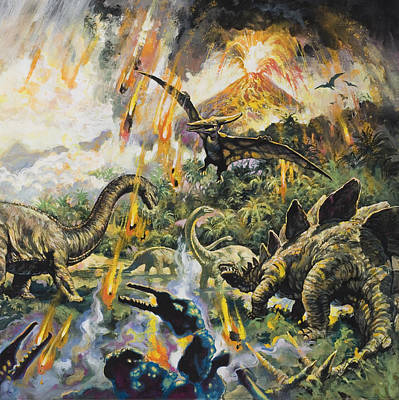 English Gouache Painting - Dinosaurs And Volcanoes by English School