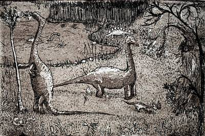 Art Print featuring the drawing Dinosaurs by Josean Rivera