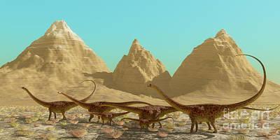 Diplodocus Dinosaur Herd Art Print by Corey Ford