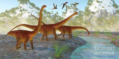 Diplodocus Dinosaur Morning Art Print by Corey Ford