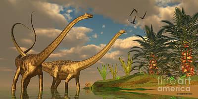 Diplodocus Dinosaur Romance Art Print by Corey Ford