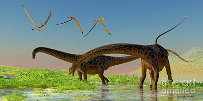 Diplodocus Feeding Art Print by Corey Ford