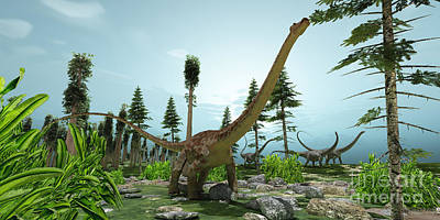 Triassic Painting - Diplodocus World by Corey Ford