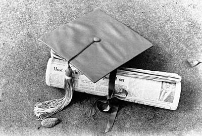 Journalism Photograph - Diplomas By Newspaper by Underwood Archives