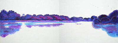 Painting - Lal Bagh Lake Panorama - Diptych Landscape by Usha Shantharam