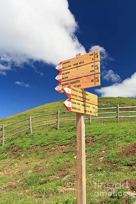 Photograph - directions in Alpine path by Antonio Scarpi