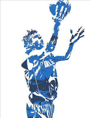 Dirk Mixed Media - Dirk Nowitzki Dallas Mavericks  Pixel Art 5 by Joe Hamilton