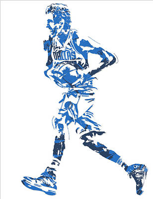 Dirk Mixed Media - Dirk Nowitzki Dallas Mavericks  Pixel Art 6 by Joe Hamilton