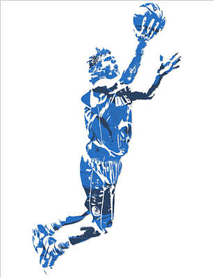 Dirk Mixed Media - Dirk Nowitzki Dallas Mavericks  Pixel Art 7 by Joe Hamilton
