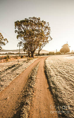 Snow-covered Landscape Photograph - Dirt Frosted Country Road In Winter by Jorgo Photography - Wall Art Gallery