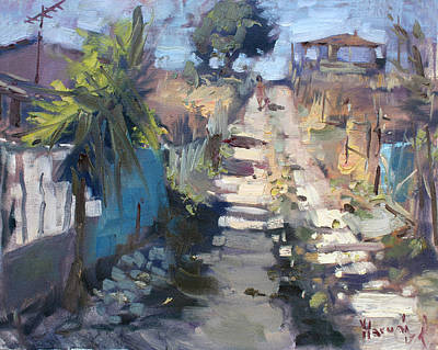 Dirt Roads Painting - Dirt Road At Kostas Garden by Ylli Haruni