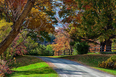 Photograph - Dirt Road Through Vermont Fall Foliage by Jeff Folger