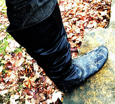 Boots Photograph - Dirty Boot On Rock by Blaire Daniels