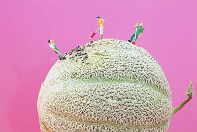 Painting - Dirty Cleaning On Sweet Melon II Little People On Food by Paul Ge