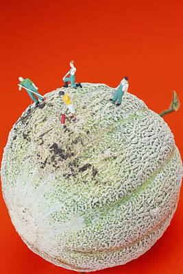 Painting - Dirty Cleaning On Sweet Melon Little People On Food by Paul Ge