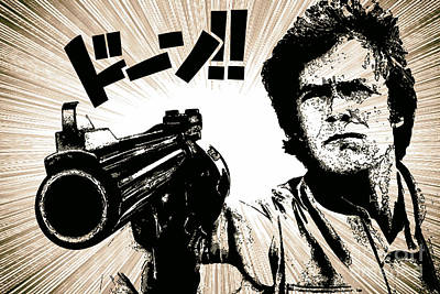 Clint Eastwood Drawing - Dirty Harry Japanese Manga Style by Jonas Luis