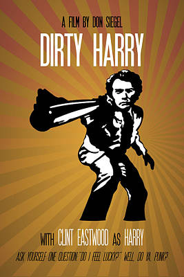 Painting - Dirty Harry Poster Clint Eastwood Quote - Do You Feel Lucky? Well, Do Ya, Punk? by Beautify My Walls